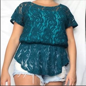 Pins And Needles Anthro Lace Sheer Blouse L